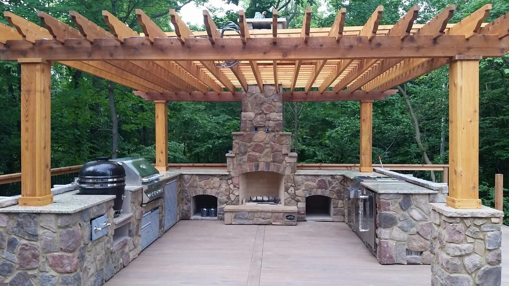 Pergola outdoor kitchen backyard outdoor room deck patio landscape design countertop