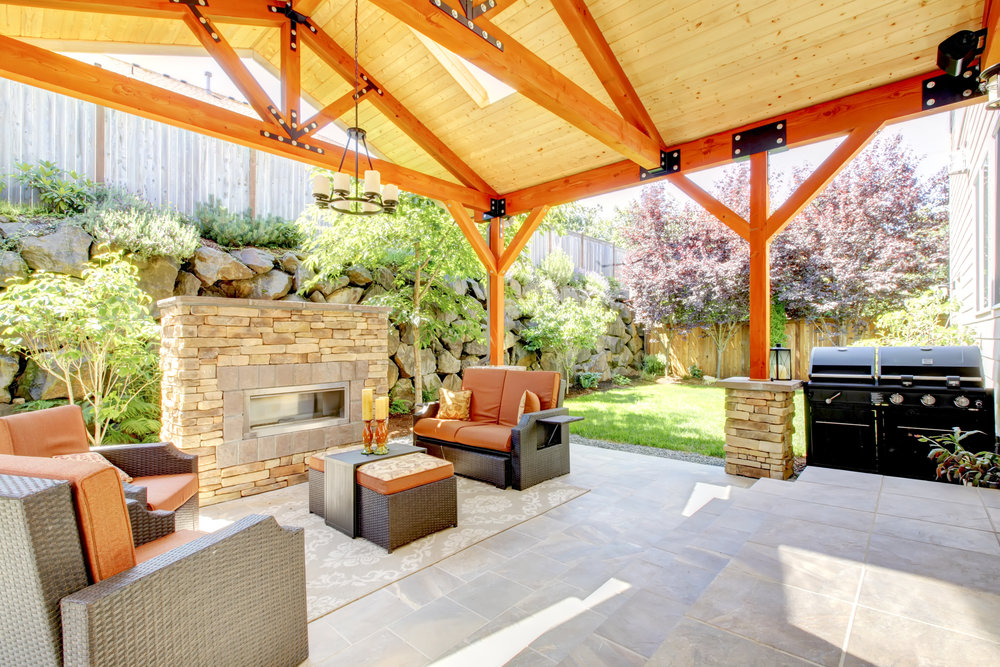 outdoor room covered room pavilion fireplace kitchen patio plantings landscape design outdoor living