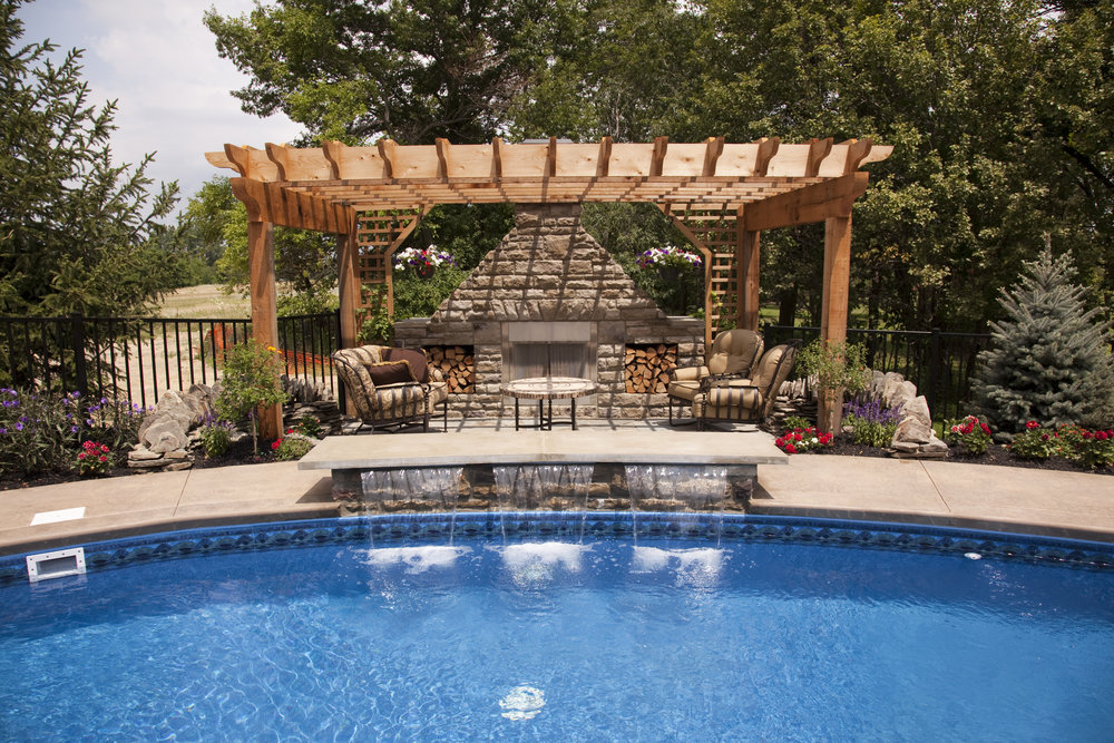 pergola pool fireplace patio landscape design plantings backyard color