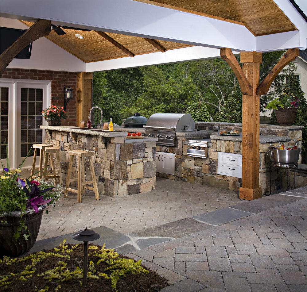 outdoor kitchen covered room patio dining landscape design