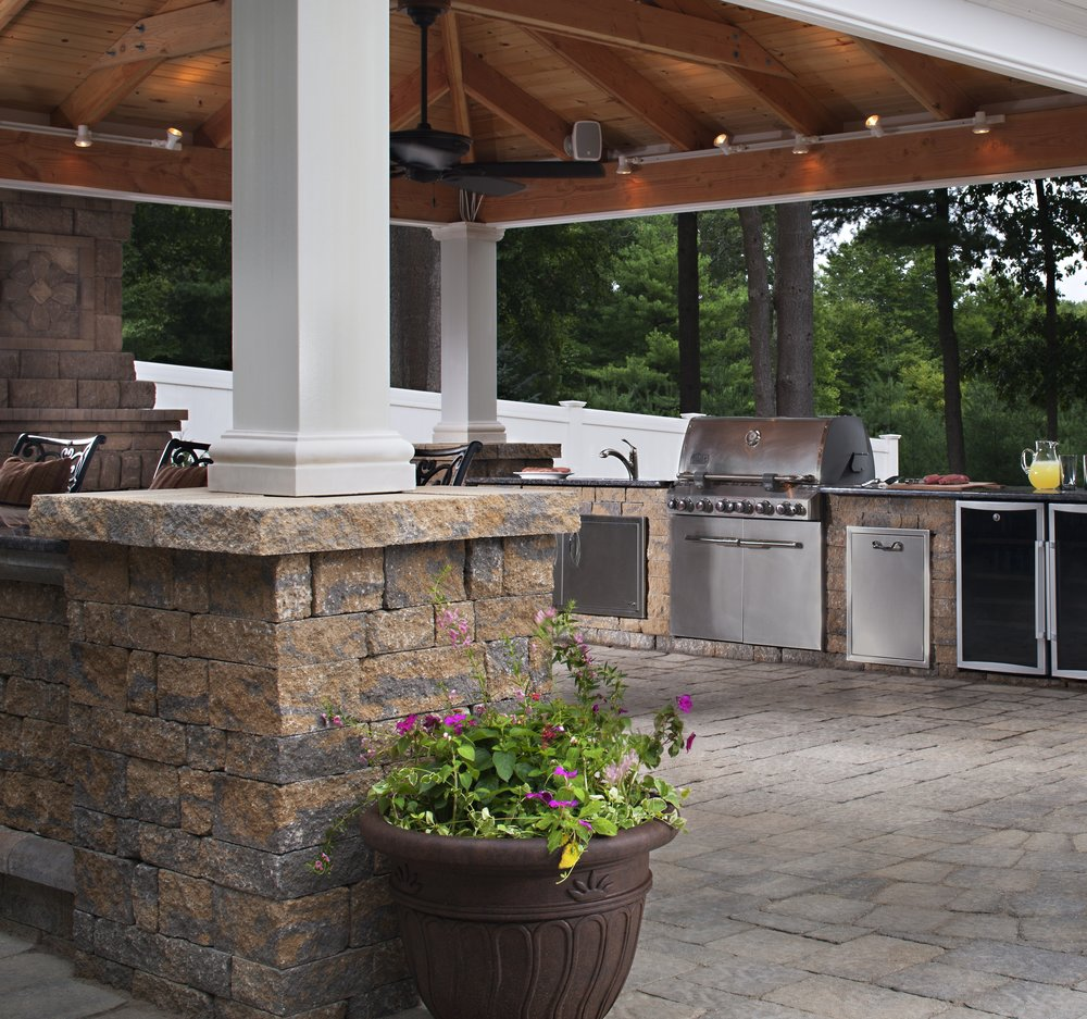 outdoor kitchen patio pavilion covered room landscape design lights backyard bbq dining