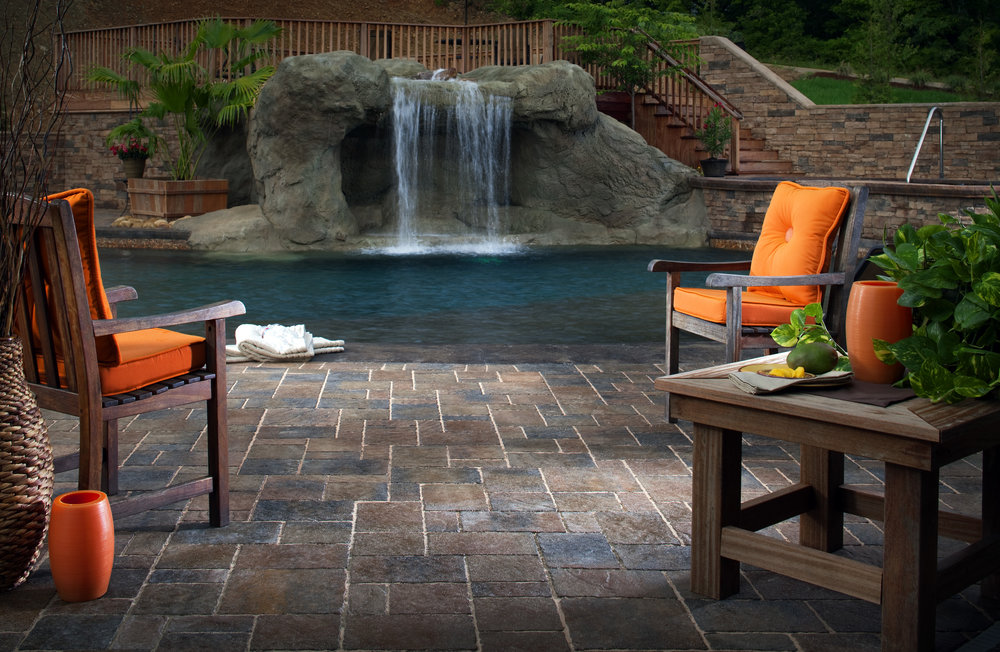 waterfall pool patio landscape design backyard
