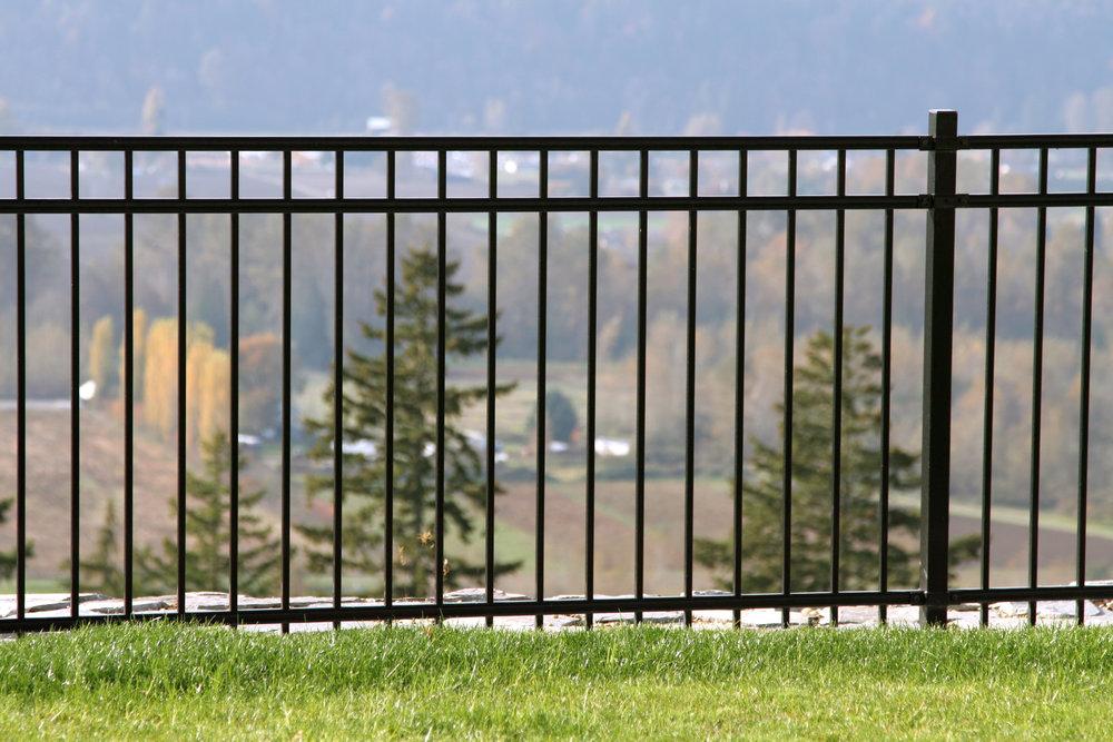 fence border metal 3 rail black