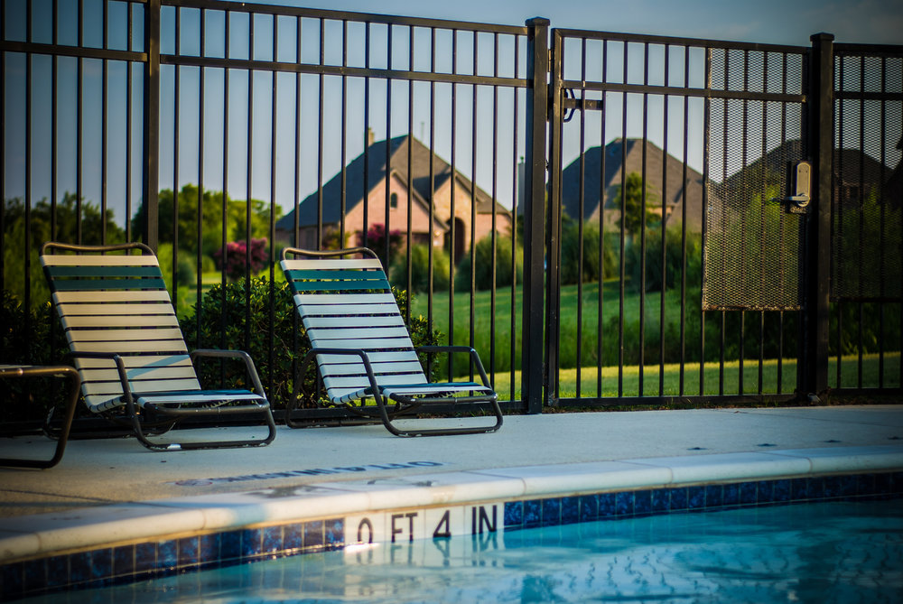 fence pool patio landscape design metal black aluminum 3 rail