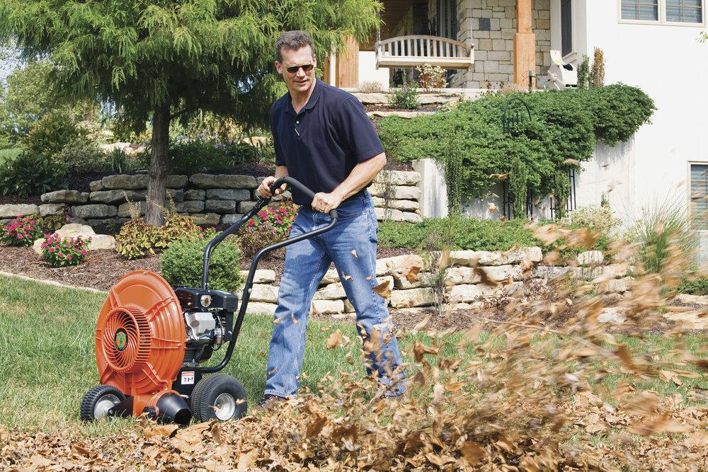 fall cleanup raking blower leaves leaf pickup