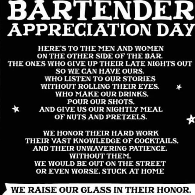 Happy Bartender Appreciation Day...take care of those amazing people who take care of you!! #getyourdrinkon #sundayfunday #appreciateyourbartender