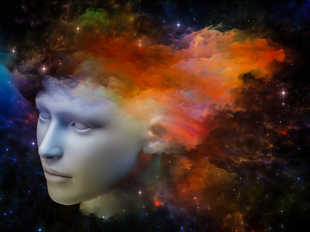 Colorful Mind series. Composition of human head and fractal colors on the subject of mind, dreams, thinking, consciousness and imagination