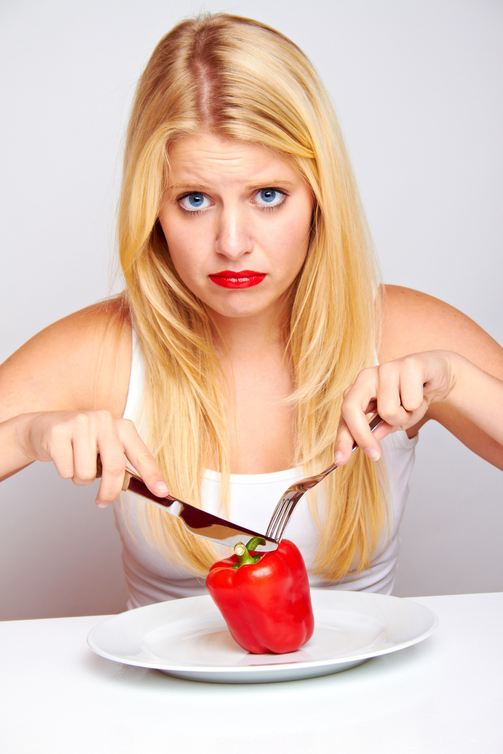 healthy food - young blond girl