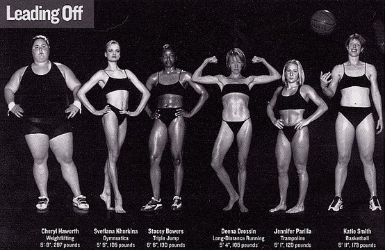 THIS is what an athlete looks like.  Each of these women is an olympic athlete. This picture absolutely challenges the notion that thinness is the only indicator of health and fitness.