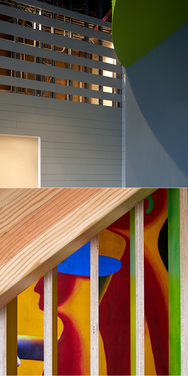 Top, Amphibian Theater. Below, stair detail at architect's residence.