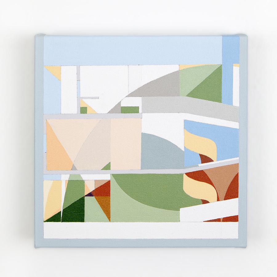 "Villa Savoye   Dror Baldinger  Acrylic on canvas  10"" x 10"" x 2.25""  Available  © Dror Baldinger"