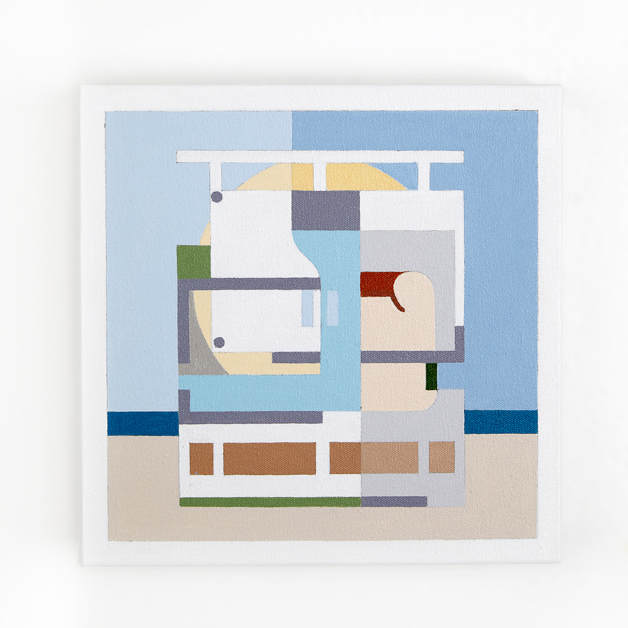 "Villa Baizeau   Dror Baldinger  Acrylic on canvas  10"" x 10"" x 2.25""  In Private Collection  © Dror Baldinger"