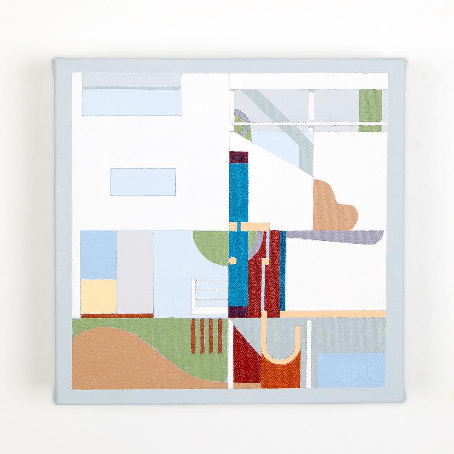 "Weisenhofsiedlung    Villas No 1 & No 2   Dror Baldinger  Acrylic on canvas  10"" x 10"" x 2.25""  In Private Collection  © Dror Baldinger"