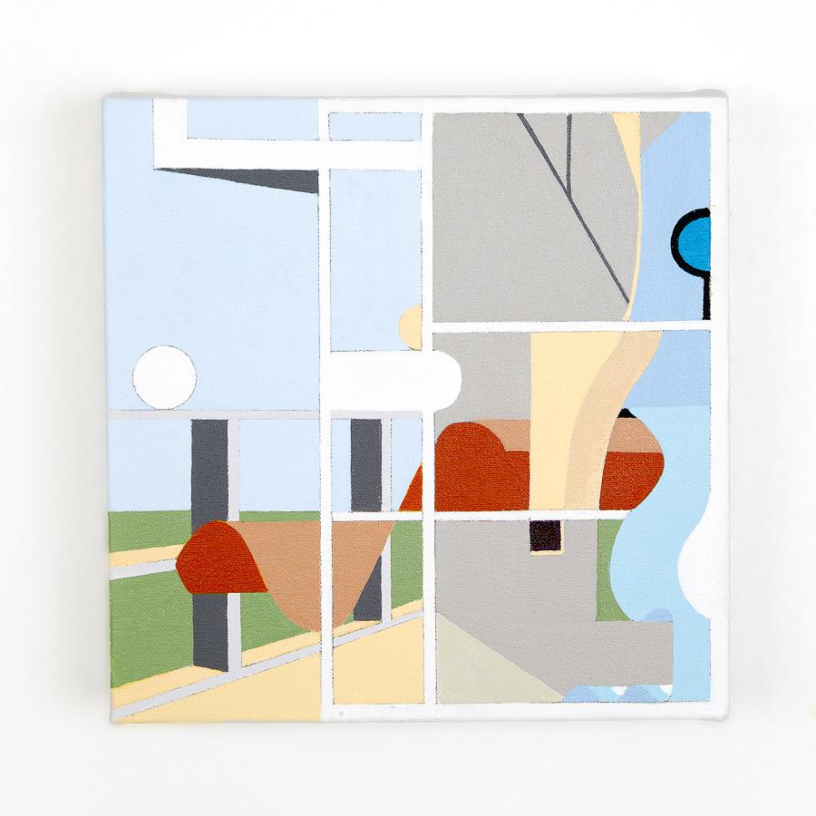 "Villa Curutchet   Dror Baldinger  Acrylic on canvas  10"" x 10"" x 2.25""  in Private Collection  © Dror Baldinger"
