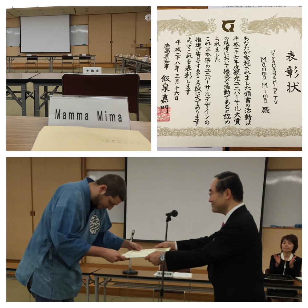 Pyke accepts the award from the governor of Tokushima.