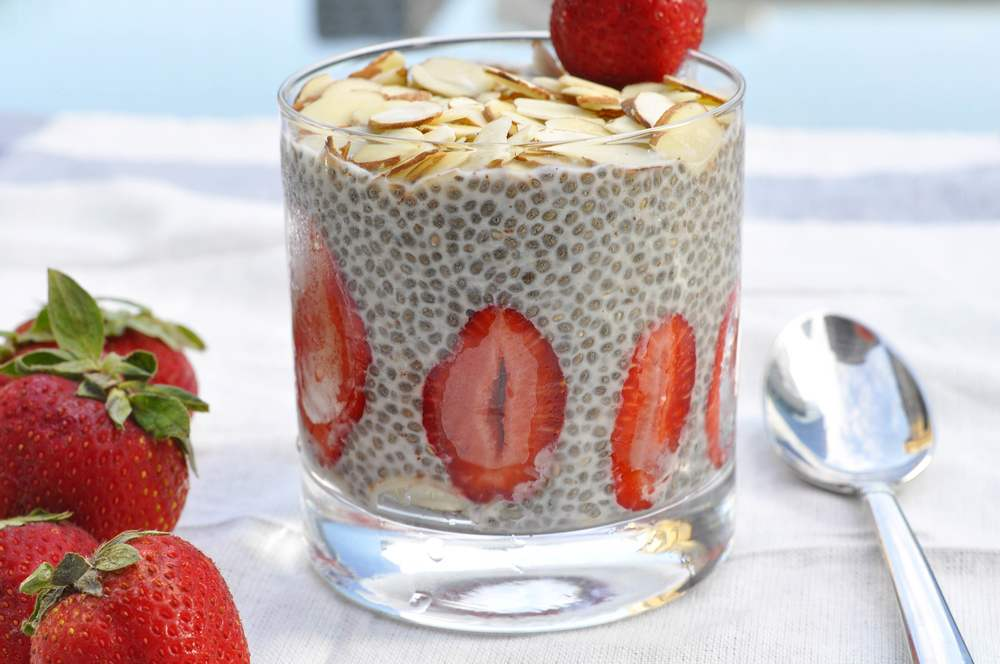 Chia seed pudding with almond milk for breakfast
