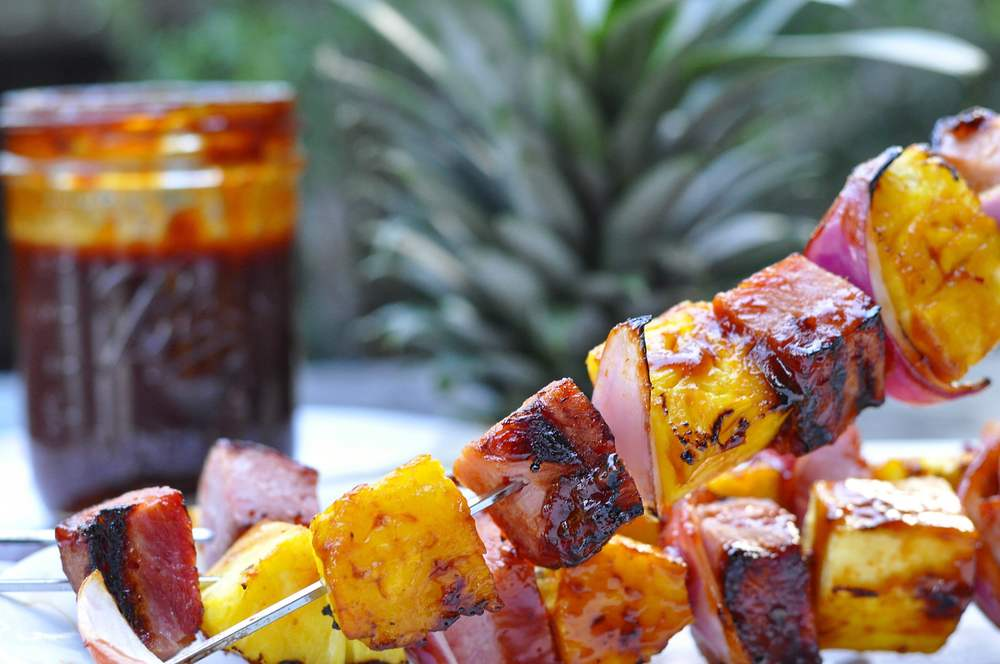 Ham and Pineapple Hawaiian BBQ Skewers