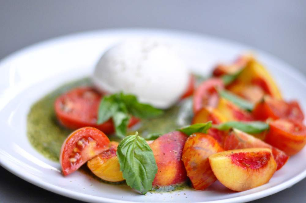 Peach and Tomato Salad with Burrata Recipe