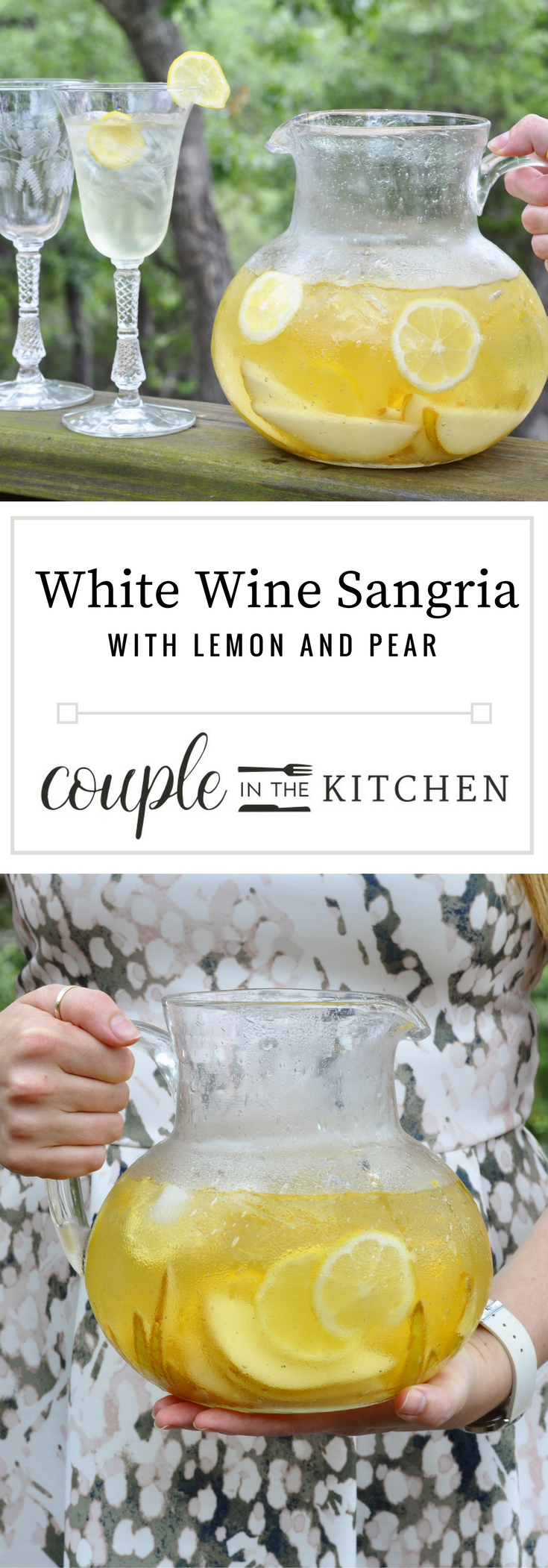 White Wine Sangria with Lemon and Pear | coupleinthekitchen.com