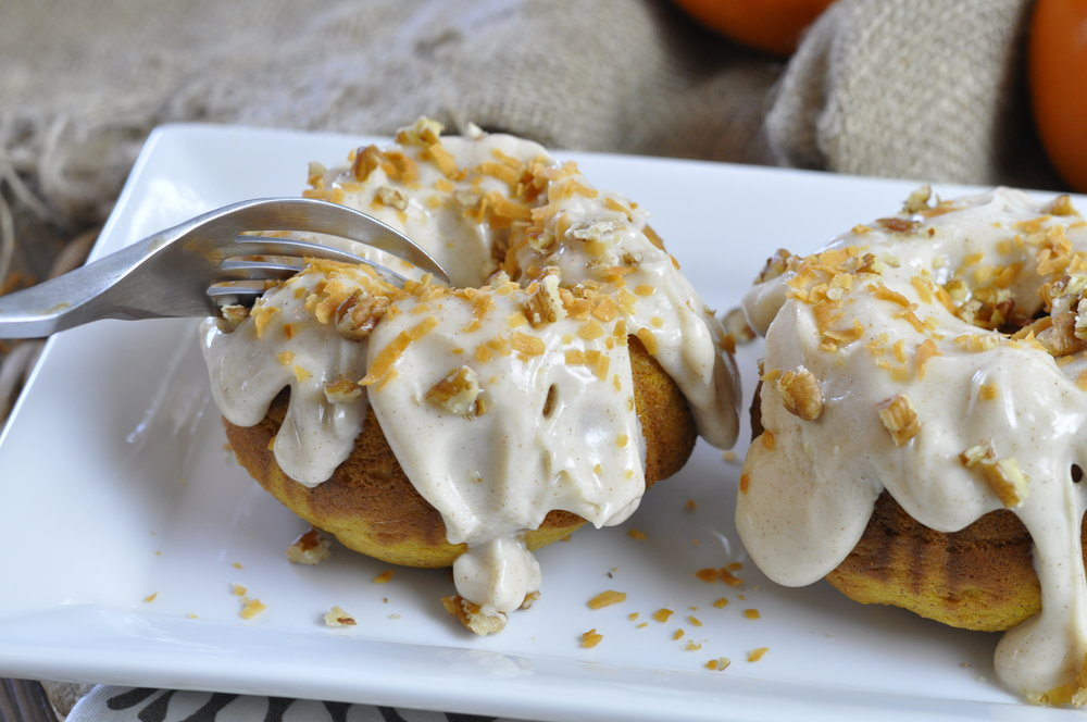 Pumpkin Spice Rum Cakes with Icing | coupleinthekitchen.com