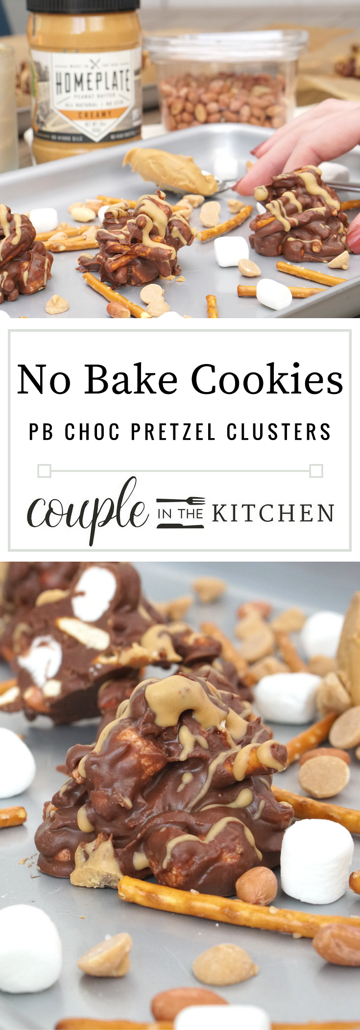 No Bake Cookies - Peanut Butter Chocolate Pretzel Clusters | coupleinthekitchen.com
