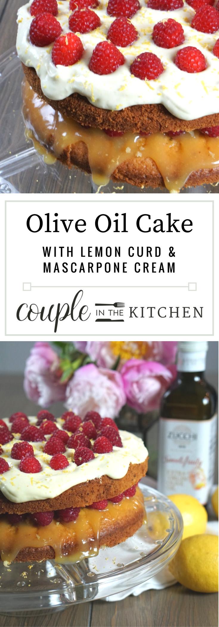 Lemon Olive Oil Cake with Lemon Curd, Raspberries, and Mascarpone Lemon Cream | coupleinthekitchen,com