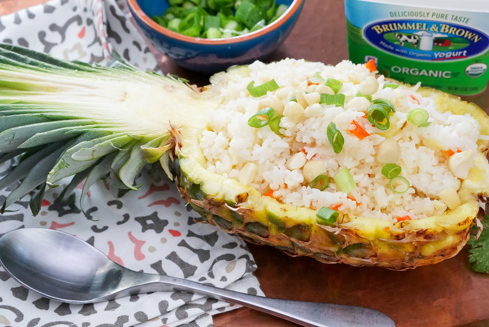 Tropical Rice Recipe in the Pineapple Serving Bowl | coupleinthekitchen.com