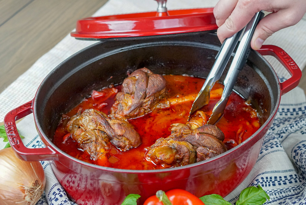 Braised Italian Lamb Shanks with Parmesan Polenta | coupleinthekitchen.com