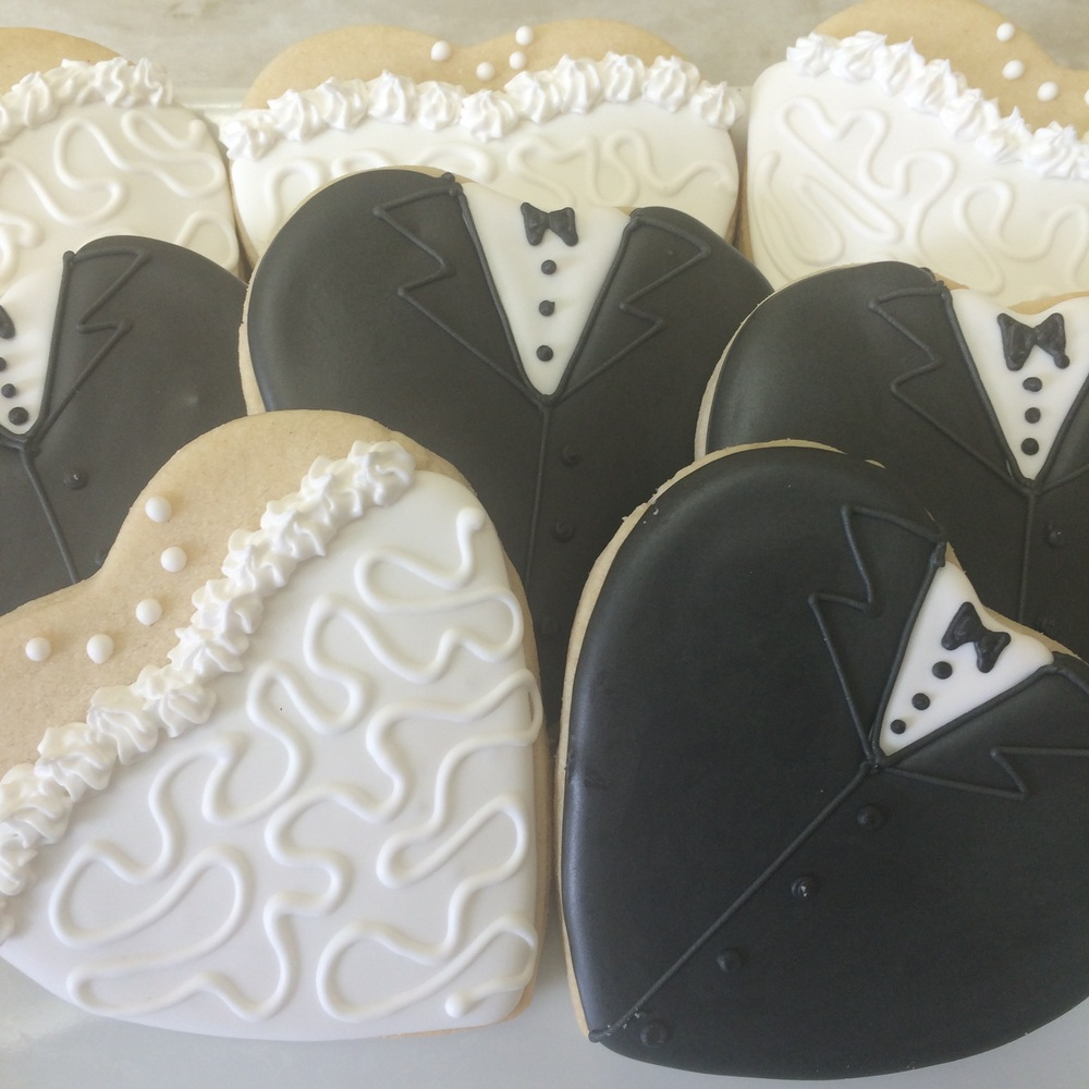Bride and Groom Heart Sugar Cookies | Sugar Lab Bake Shop
