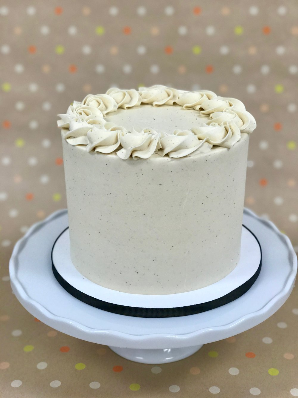 Vanilla Bean - Cake: Vanilla BeanFilling: Vanila Bean Swiss Meringue ButtercreamFrosting: Vanilla Bean Swiss Meringue Buttercream