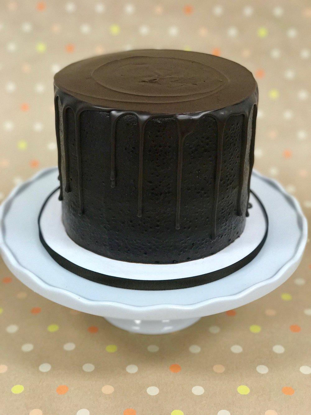 Triple Chocolate - Cake: ChocolateFilling: Chocolate FudgeFrosting: Chocolate Fudge and dark chocolate ganache