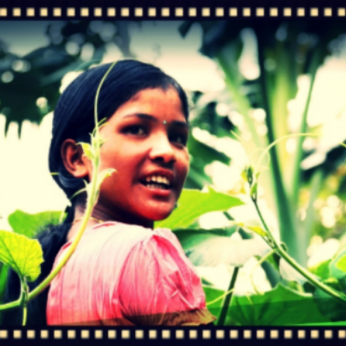 After My Garden Grows   shows  A rural indian girl tilling land to feed family and planting seeds of independence and fiscal freedom
