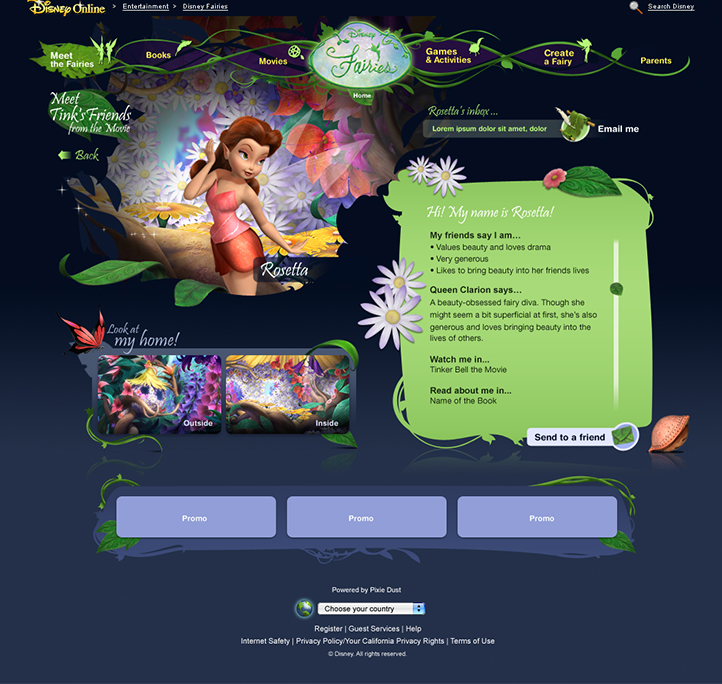 Fairies site before redesign -