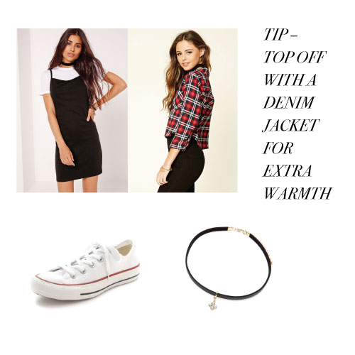 Want another easy closet look? Just swap out the dress for a band tee and ripped jeans. And if it's extra chilly where you are, put on a leather jacket instead!