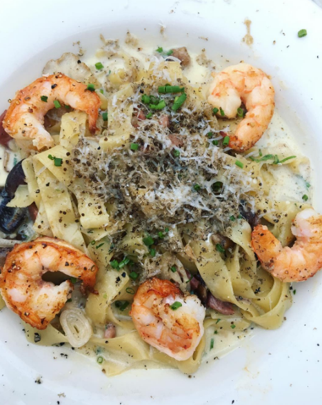 THE FOOD - Because what else would I have been doing this whole time away? (Pictured: Black truffle pasta with shrimp / Tappo Dinner Special)