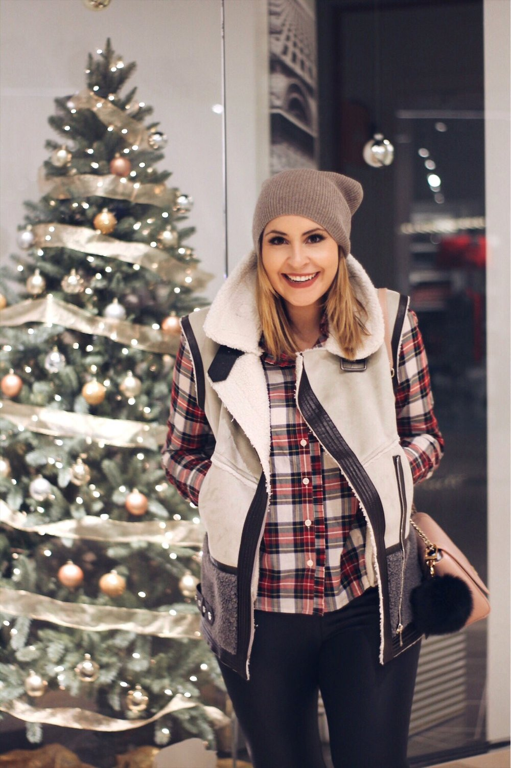 Plaid shirt - JCrew Vest & Accessories – Saks Off 5th (How cute is that purse puff ball!?)  Leather leggings – Nordstrom