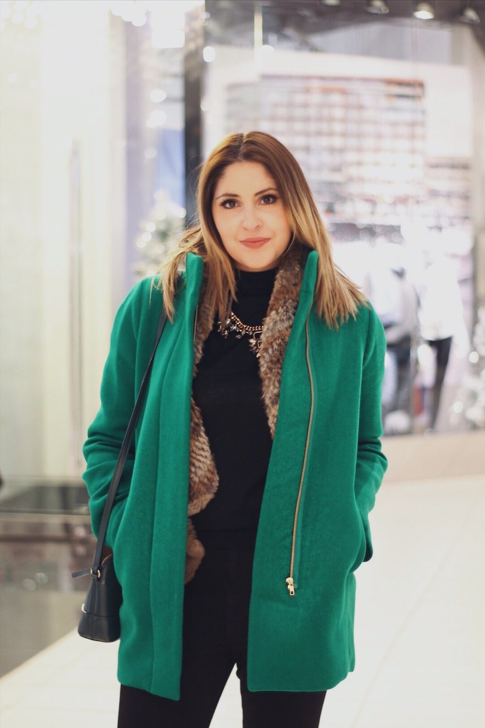 Coat & Turtleneck – JCrew Fur vest & Necklace – Saks off 5th Jeggings – Levis Purse – Kate Spade