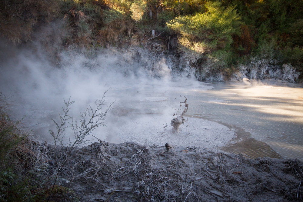 Bubbling mud pools