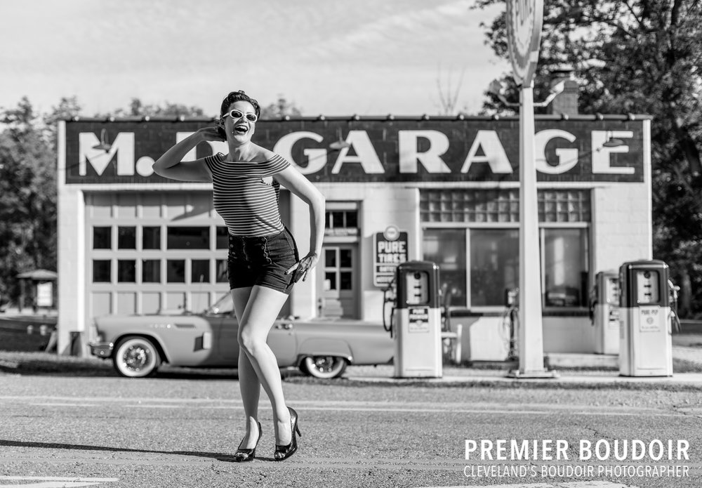 Cleveland + Akron Pinup Boudoir Vintage Retro Photography Boston Mills Gas Station Thunderbird Car