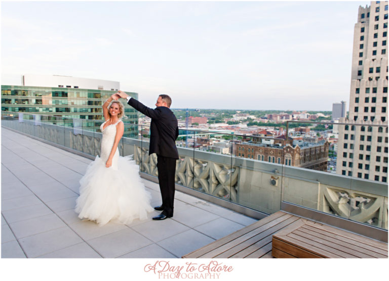 The happy newlyweds! Whitney and Shane overlook Kansas City on the rooftop at The Brass on Baltimore.
