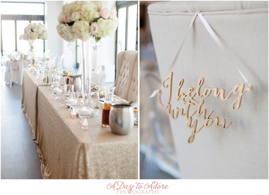Gold, ivory and blush details combine to form a lovely color palette for an April wedding.