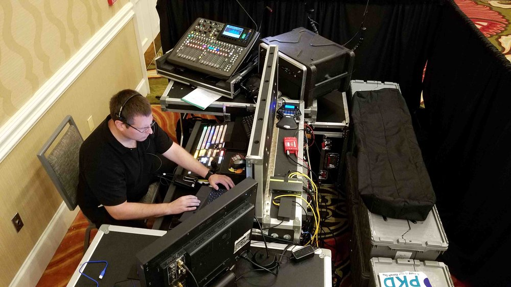Whitney Media Productions, team member, Greg Gromak at the controls for AAKP 2018