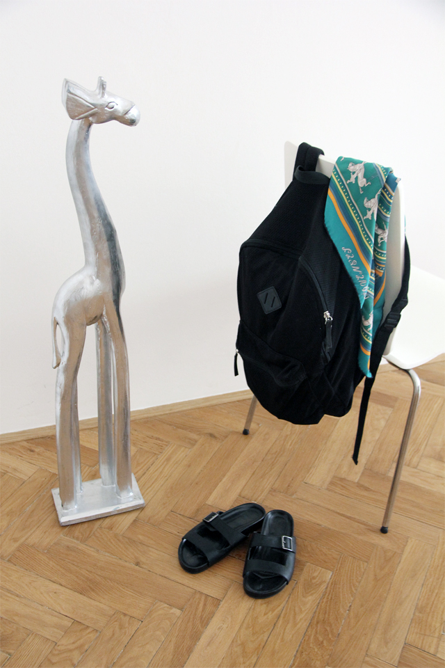 Backpack by  Topshop , silk scarf by  Hermés and slides by  ASOS .