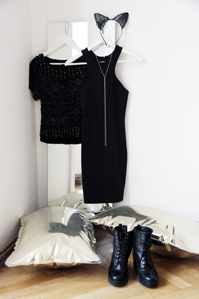 Studded top,dress, lace ears and boots by Topshop.