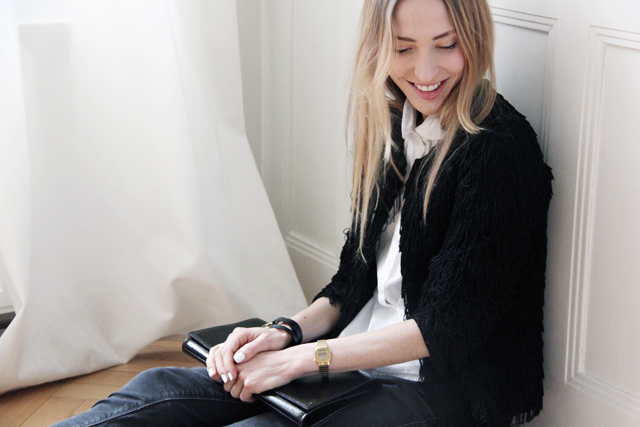 Fringe cardigan by Mango, shirt by Topshop, watch by Nixon and clutch by Saint Laurent.
