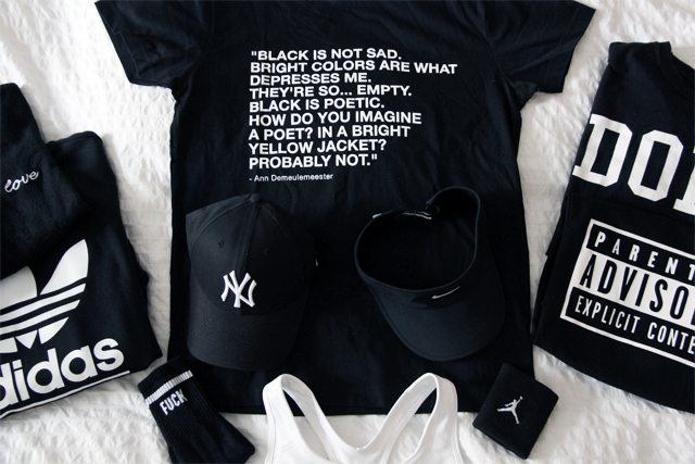 Left to right: Tee by Adidas, socks by Urban Outfitter, cap by New York Yankees, T-shirt by Black is the only colour, visor by Nike, T-shirt by Topshop and H&M.
