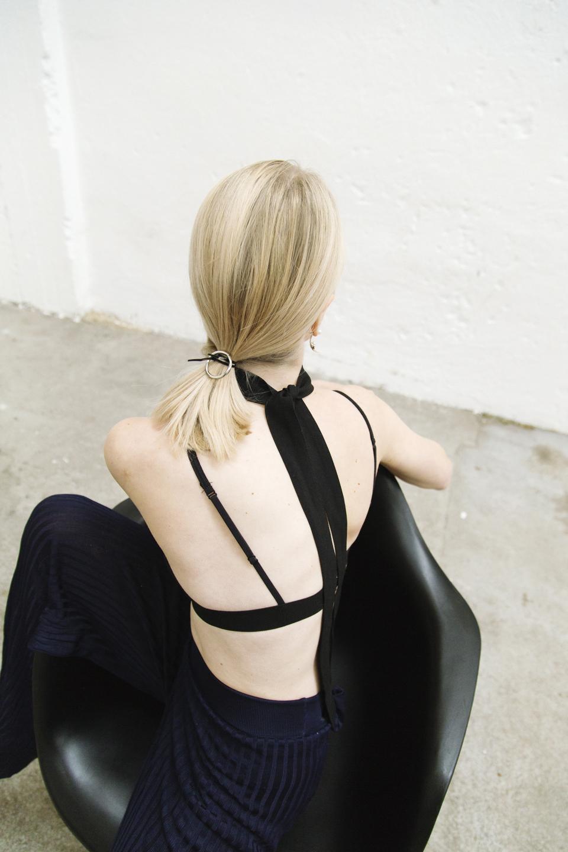 Bra by  Sloane & Tate , pants by  Zara , vintage skinny scarf.