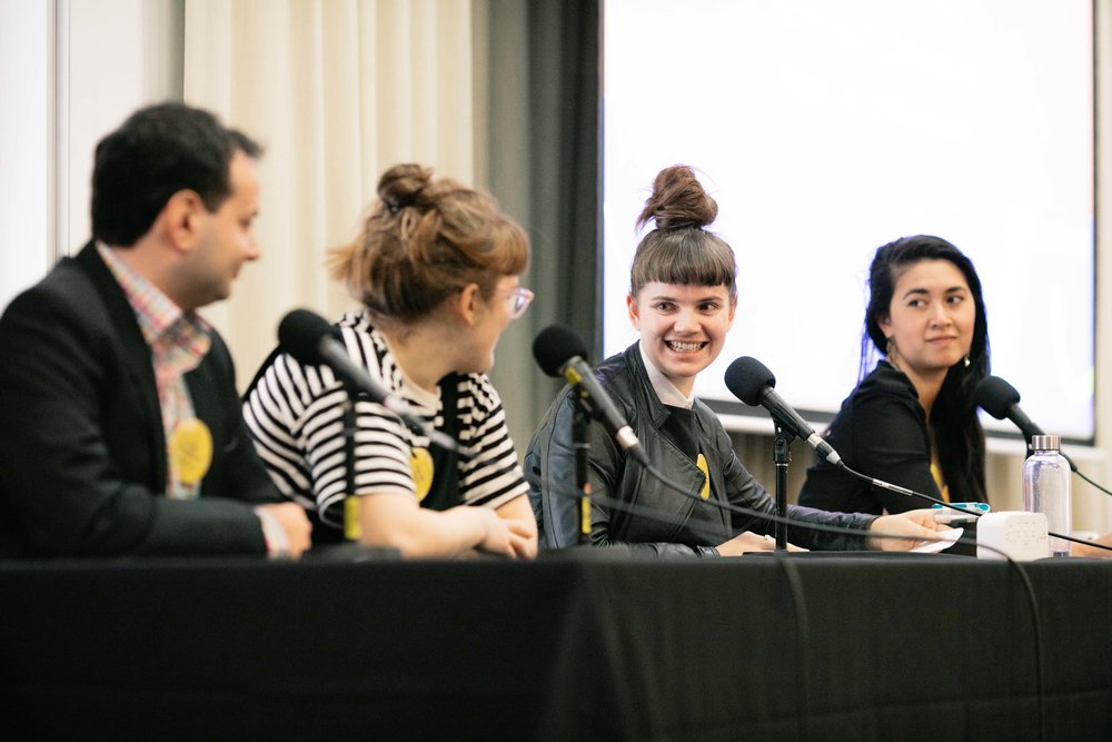 Pictured: Miles Martignoni, Hannah Reich, Honor Eastly & Megan Tan at Audiocraft Conference 2017. Photo by Bryce Thomas.
