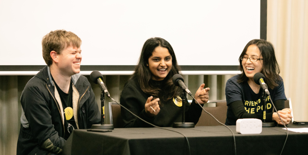 Pictured: Andrew Levins, Kamna Muddagouni & Lee Tran Lam at Audiocraft Conference 2017. Photo by Bryce Thomas.