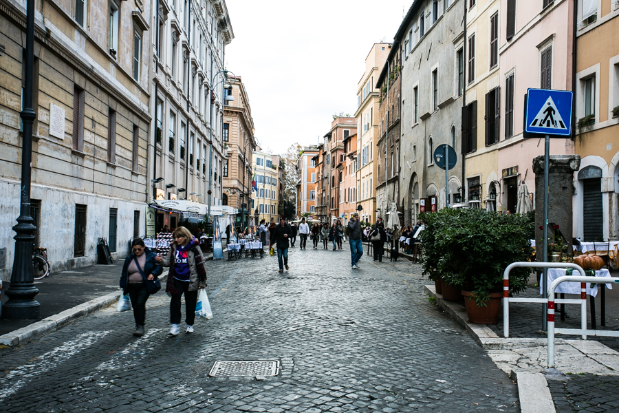 View of the central drag of the historic Jewish ghetto.